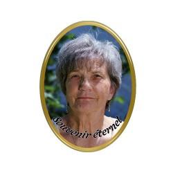 Médaillon Funéraire Ovale Vertical 6 x 8 cm Photo Personnalisé A notre mère